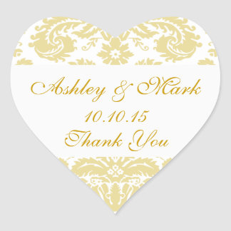 Gold Ivory Damask Wedding Favor Heart Sticker