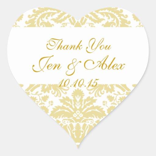 gold ivory damask wedding favor heart sticker zazzle