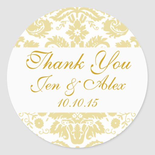 gold ivory damask wedding favor round stickers zazzle