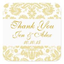 Gold Ivory Damask Wedding Favor Square Sticker