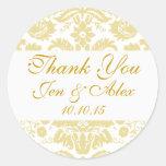 Gold Ivory Damask Wedding Favor Classic Round Sticker