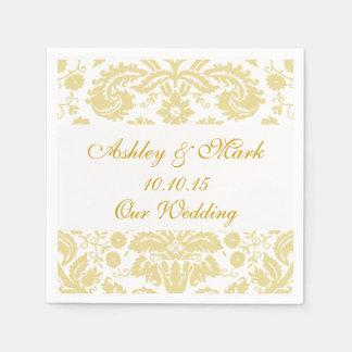 Gold Ivory Damask Wedding Paper Napkins