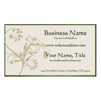 Gold Ivy with Green Border Business Cards