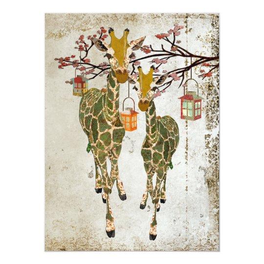 Gold & Jade Giraffes Cherry Blossom Invitation