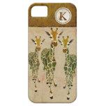 Gold & Jade Giraffes Damask Monogram iPhone Case iPhone 5 Case