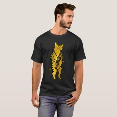 Gold JAZZ CAT Playing The SAX Musicians Tee