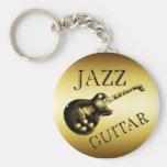 GOLD JAZZ GUITAR BASIC ROUND BUTTON KEYCHAIN