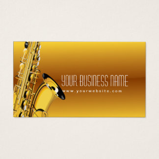 Gold Jazz Saxophone Music Business Card