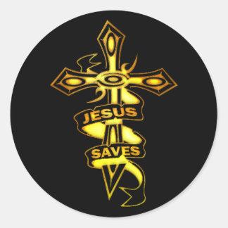 GOLD JESUS SAVES CROSS CLASSIC ROUND STICKER