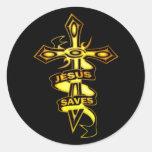 GOLD JESUS SAVES CROSS STICKER