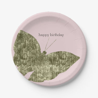 Gold Jewel Butterfly Birthday Paper Plate