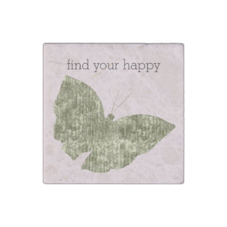 Gold Jewel Butterfly Find Your Happy Stone Magnet