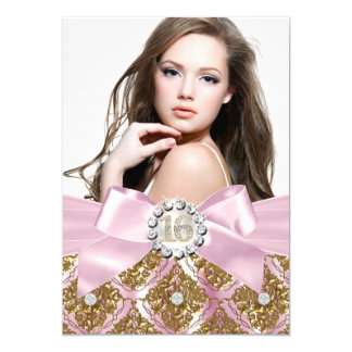 Gold Jewel Damask & Pink Bow Sweet 16 Photo Invite