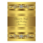 Gold Jewel Elegant Gold 50th Wedding Anniversary Announcement
