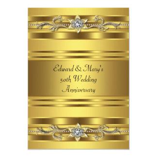 Gold Jewel Elegant Gold 50th Wedding Anniversary Announcement