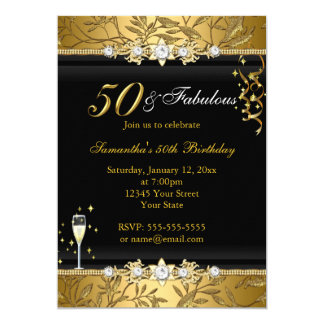 Gold Jewel Leaf 50 Fabulous Birthday Black Card