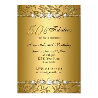 Gold Jewel Leaf 50 & Fabulous Birthday Invitation