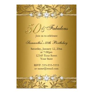 Gold Jewel Leaf 50 Fabulous Birthday Invitation