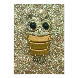 Gold Jewel Owl Card