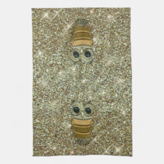 Gold Jewel Owl Hand Towels