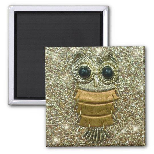 Gold Jewel Owl Magnet