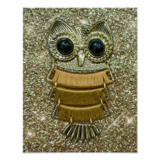 Gold Jewel Owl Poster