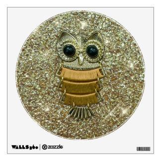 Gold Jewel Owl Wall Sticker
