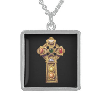 Gold Jeweled Art Celtic Cross on Sterling Silver N Square Pendant Necklace