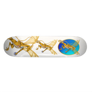 Gold Jeweled Dragon Oval Skateboard