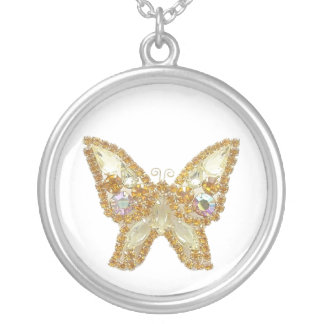 Gold Jeweled Glitter Butterfly Necklace