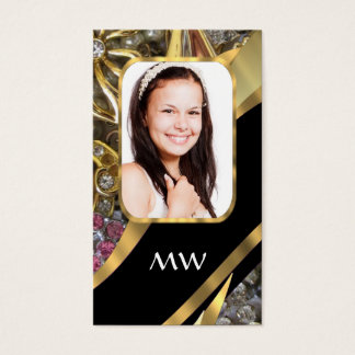 Gold jewelry photo background business card