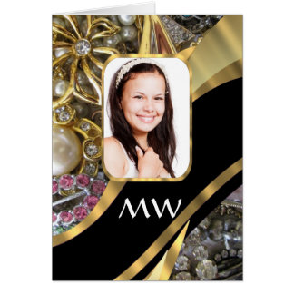 Gold jewelry photo background greeting card