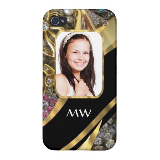 Gold jewelry photo background cases for iPhone 4