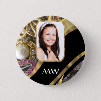 Gold jewelry photo background pinback button
