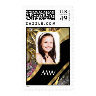 Gold jewelry photo background postage