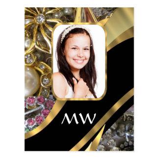 Gold jewelry photo background postcard