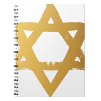 Gold Jewish Star of David Brushstroke Texture Icon Notebook