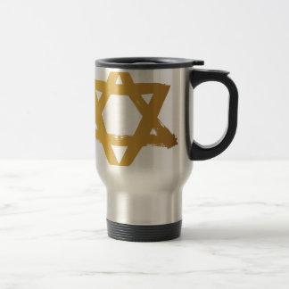 Gold Jewish Star of David Brushstroke Texture Icon Travel Mug