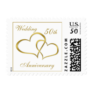 Gold joined hearts 50th Wedding Anniversary Stamp