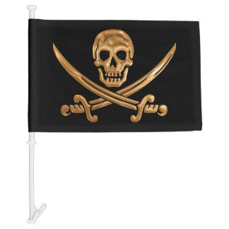 Gold Jolly Roger Car Flag