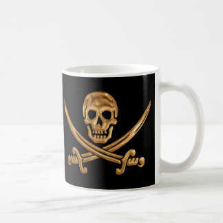 Gold Jolly Roger Coffee Mug