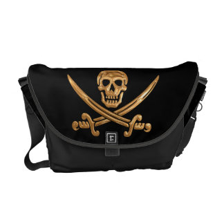 Gold Jolly Roger Courier Bag