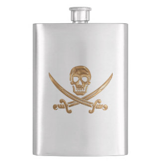 Gold Jolly Roger Flask