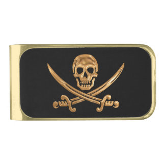 Gold Jolly Roger Gold Finish Money Clip