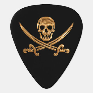 Gold Jolly Roger Guitar Pick