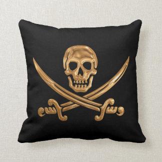 Gold Jolly Roger Throw Pillows