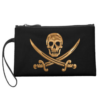 Gold Jolly Roger Suede Wristlet Wallet
