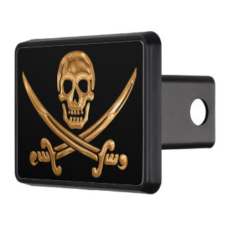 Gold Jolly Roger Trailer Hitch Cover