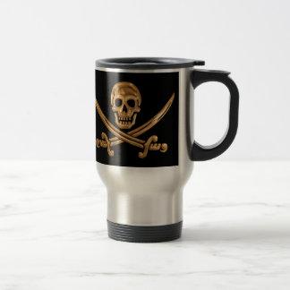 Gold Jolly Roger Travel Mug