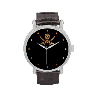 Gold Jolly Roger Wristwatches